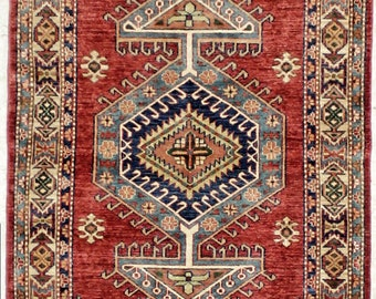 Caucasian Hand Knotted Tribal Rug 3x5