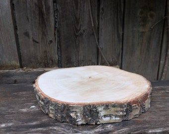 10.23 Large Birch Wood Slice, 10.23 inch wood slice, Wood charger, Plate Charger, Birch wood coaster, Birch Slice, birch wood cake stand