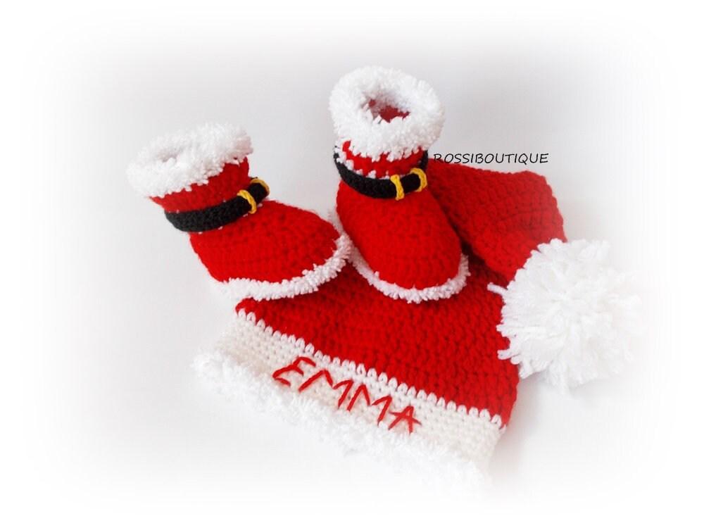 le le le père noël personnalisée de bébé bébé de noël hat bottes bébé enfants santa hat chaussures ensemble des nouveau - nés mis noël personnalisée hat. dfe12a