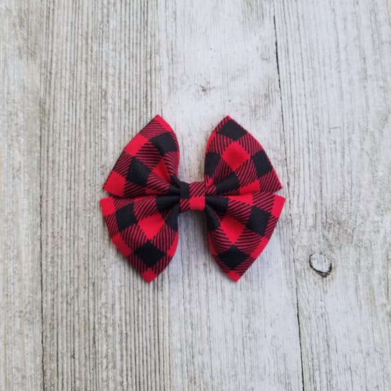 "Back to School 2 red /& grey tartan gingham red glitter 2/"" hair bow clips"