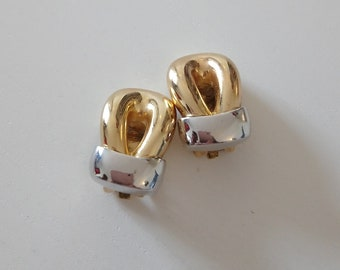 Vintage silver and gold clips signed Grosse