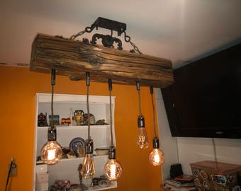 Reclaimed wood beam and steel conduit rustic industrial chandelier