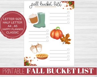 Printable Autumn Bucket List, Fall Bucket List Printable, Fall Activities For Couples , Letter Sized, Happy Planner Printable, A4, A5