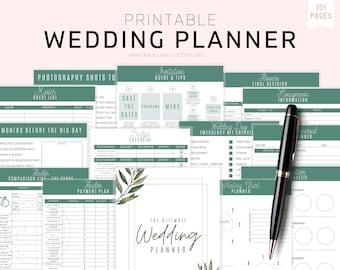 Wedding Planner Printable, Printable Wedding Planner Kit, Wedding Binder Template, Wedding Planning Book, Wedding Planner Organizer