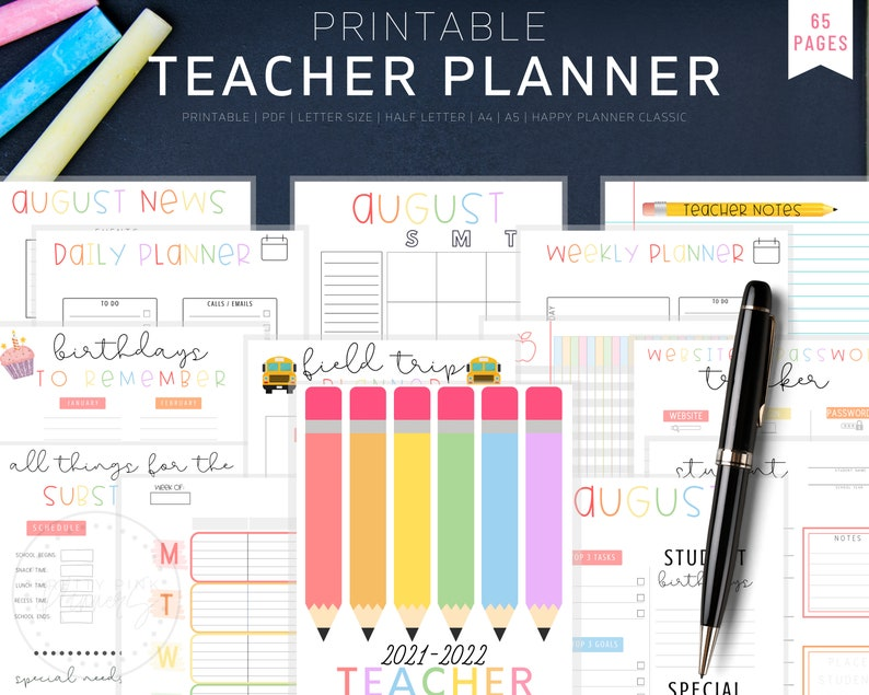 Teacher Planner 2021-2022 Lesson Planner Printable Academic image 0