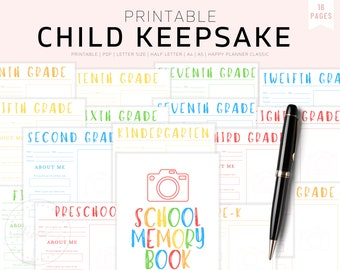 Kids Keepsake Journal, Printable Birthday Interview Questions for Children, Childhood Memories, Yearly Annual Diary, Kid's Memory Journal