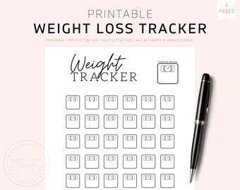 Printable Weight Loss Tracker Journal, Digital Weight Loss Chart, Weekly Weigh In, Weight Loss Motivation, Weight Loss Goal Tracker