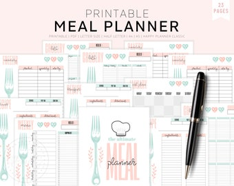 Meal Planner Printable, Weekly Meal Planner, Monthly Meal Planner, Half Size, A5, A4 Letter, Menu Planning Notebook, Planner Inserts