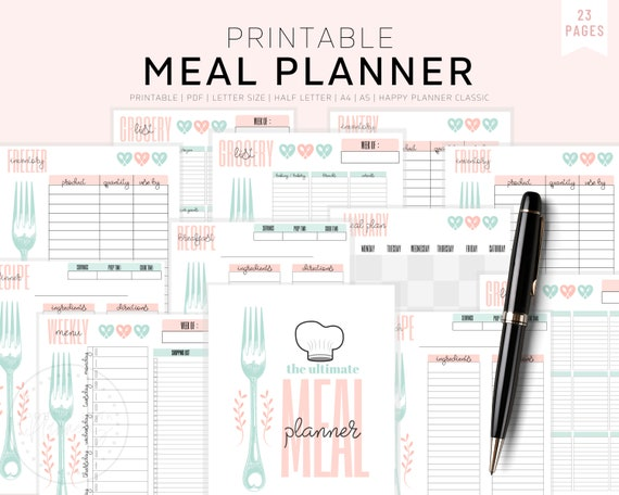 Meal Planner Printable Weekly Meal Planner Monthly Meal