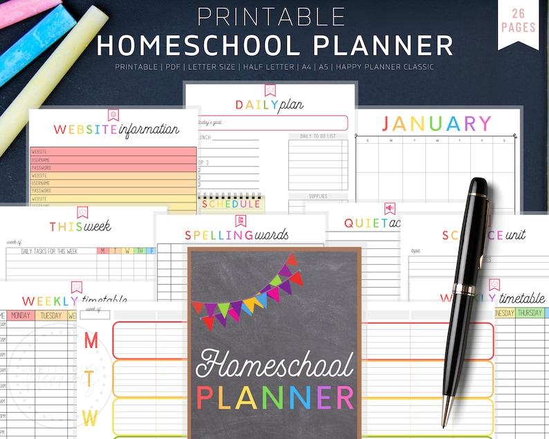 Homeschool Planner Homeschool Printable Homeschool Schedule image 1