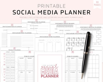 Social Media Planner, Social Media Planner for Instagram, Social Media Planner 2021, Social Media Planner Pritable, A5, A4, Business Planner
