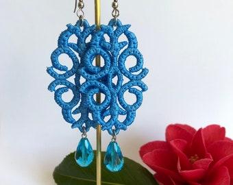 Summer Blue ~ Needle Lace ~ Dangle Earrings