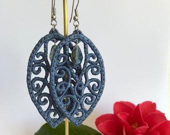 Denim Blue ~Needle Lace ~ Dangle Earrings
