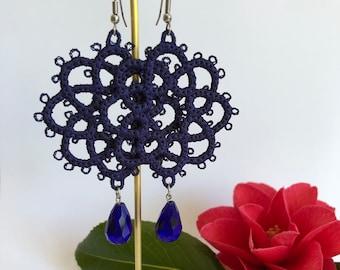 Electric Blue ~ Needle Lace ~ Dangle Earrings