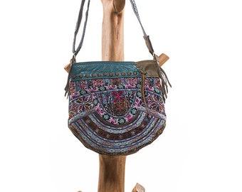 Boho chic Shoulder bag, Vintage fabrics, handmade leather bag. One of a Kind