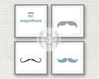 Nursery Set Prints, Boy, Boy's Nursery, Child Room Prints, Digital Wall Art, Mustache, Boy, Mr. Magnificent, Blue, Grey