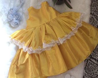 Handmade flower girl dress, sunshine yellow with ivory guipure lace trim