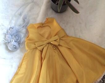 Hand Made Flower girl dress, sunshine golden yellow with heart shape back.