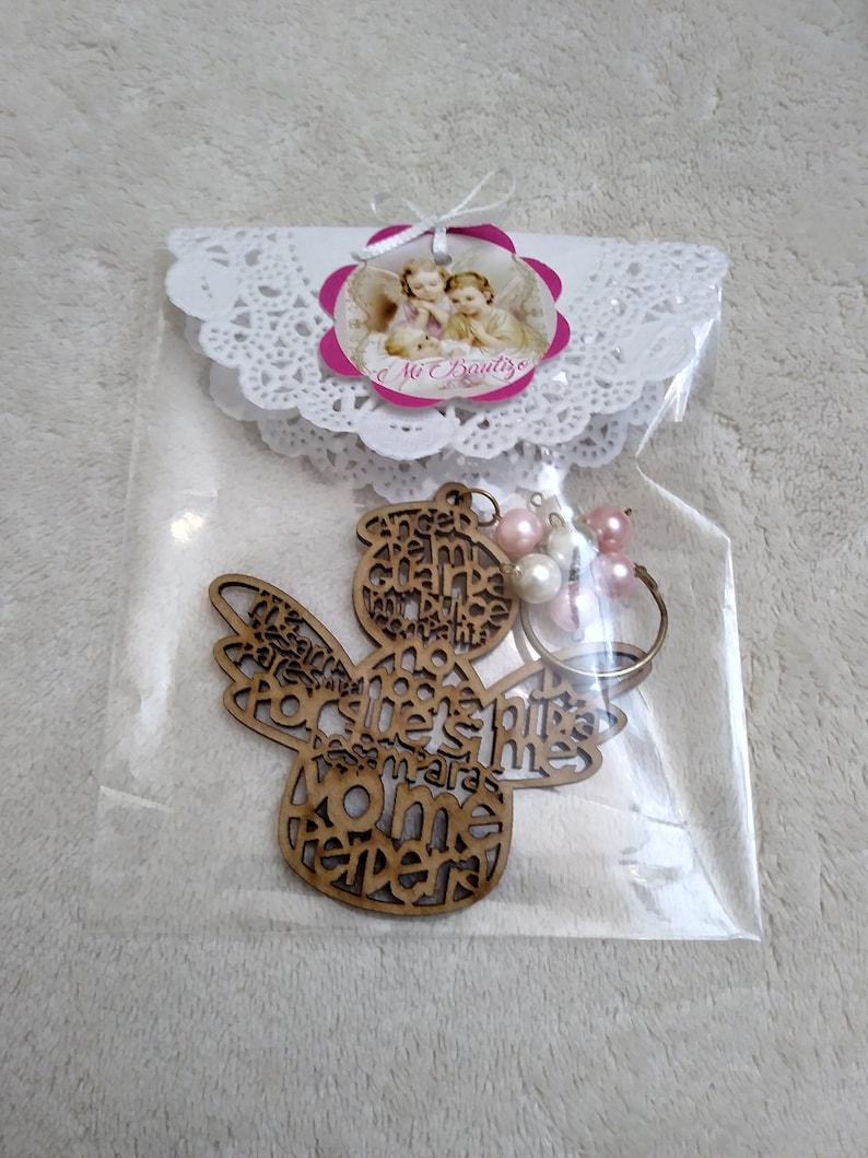 Laser Cut Little Angel Keychain Angel Baptism Party Favors Keychain Guardian Angel Wooden Guardian Angel llavero angel recuerdo bautizo