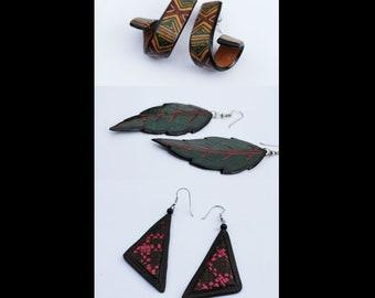 1980s leather earrings / Vintage leather earrings spiral / leather earrings leaves / leather earrings triangle / 80er Lederohrringe /Vintage