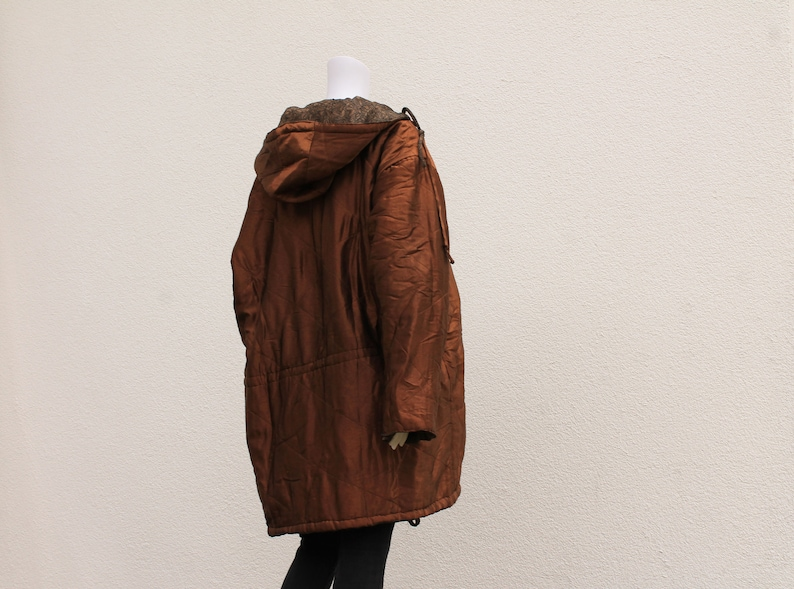 Vintage reversible hooded Parka  90s Vintage coat  80s shiny bronze and brown long jacket with hood