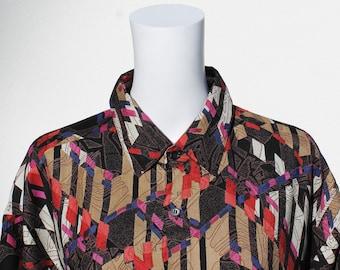 Vintage buttoned shirt with playful print  / 1990s shirt semi-spread collar long sleeves geometric pattern / 80er Vintage Hemd / Hawaiian