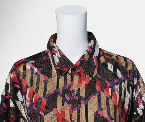 Vintage Buttoned Shirt With Playful Print 1990s Shirt Etsy