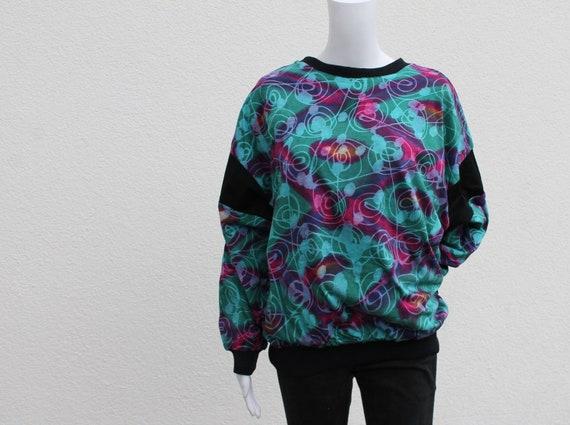 Vintage reversible batik pullover / 90s chic batik