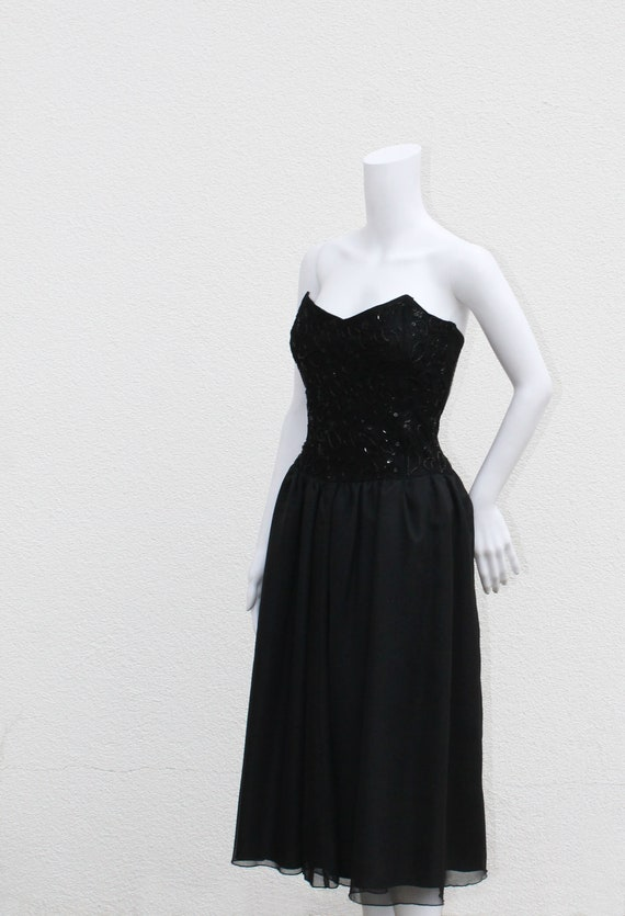 1990s Black Lace Prom Dress Goth Chic Scott McClintock