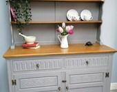 Refurbished Grey Painted Welsh Dresser Solid Oak Jaycee Old Charm Sideboard Buffet Display Drinks Cabinet Book Case Farrow Ball
