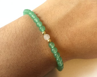 Green Aventurine & Rose Quartz Beaded Bracelet