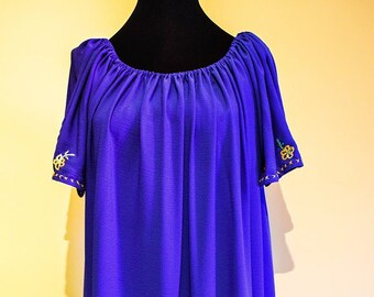 Summer Dress, Dress with Embroidery, Blue Dress
