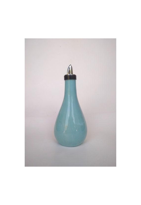 Handcrafted Ceramic Olive Oil or Vinegar Bottle Dispenser Retro Color
