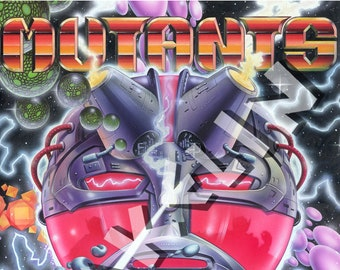 BOB WAKELIN - Bob Wakelin Illustration - Bob Wakelin Retro Gaming Artwork - MUTANTS A3 size digital poster