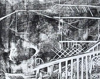 49 Empty Spaces Woodblock Print