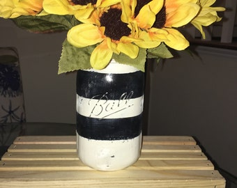 Black & White Distressed Stripe Wide Mouth Mason Jar| Centerpiece