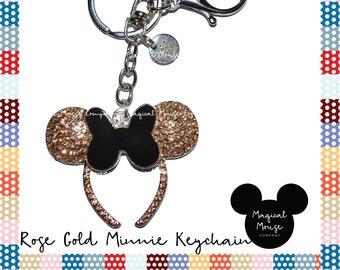 DISNEY INSPIRED ROSEGOLD Minnie Ears Keychain 437ee9b161