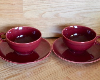 Vintage Ballerina Burgundy  Cup and Saucer. Set of two