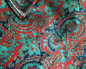 Paisley print fabric vintage, Blue red paisley fabric 3.9 yards, Russian folk art fabric, Soviet fabric sateen