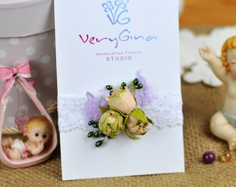 Newborn Tieback, Floral Headband Baby, Floral Baby Tieback, Toddler Tieback, Kid Photography Prop Headband, VeryGina Flowers
