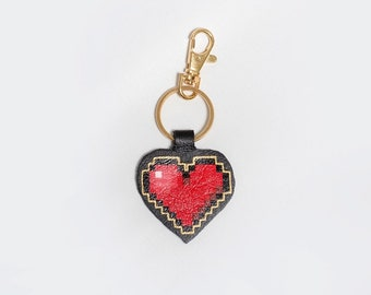 Pop Art Style Red Pixel Heart Bag Charm