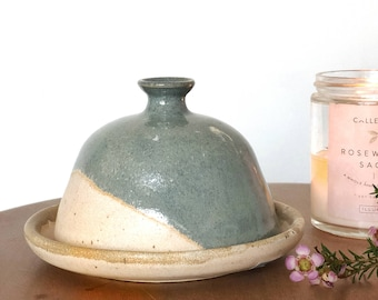 Hand-painted stonewear butter dish