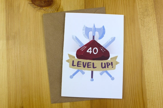 40 Level Up Card Dd Birthday Card Dnd Gift D And D Card Etsy