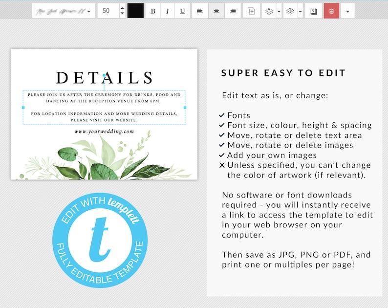 Printable wedding Wedding insert card Invite details card Greenery wedding details template Details card wedding DIY details printable