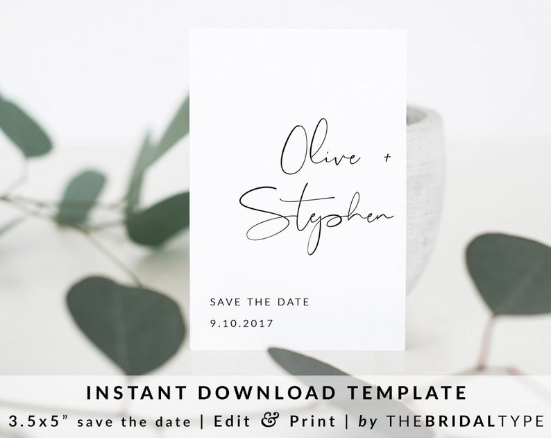 Templett save the date Custom save the date printable Editable Save the date wedding Calligraphy save the date Save the date template