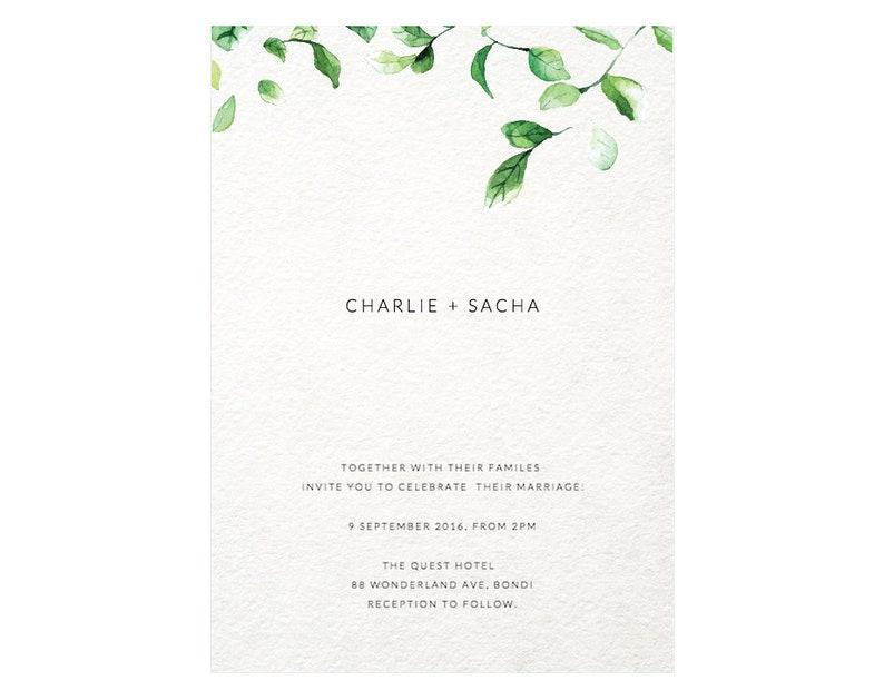 Minimalist Invitation Wedding Template Greenery Watercolor Leaves Green Falling Simple B9