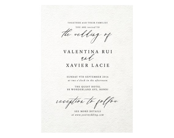 Classic Wedding Invitation Template Calligraphy Invitation Etsy