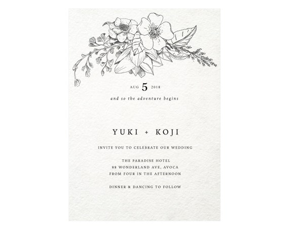 Simple Wedding Invitation Template Floral Printable Border Flower Frame Arch Edit In Templett F8