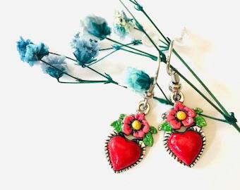 GiftJewelryShop Silver Plated Cameroon Flag Photo Flower Head Dangle Heart Bead Charm Bracelets