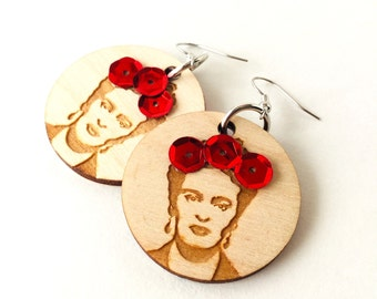 Frida Handmade Wood Earrings